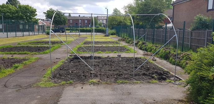 The building of the Polytunnel begins.