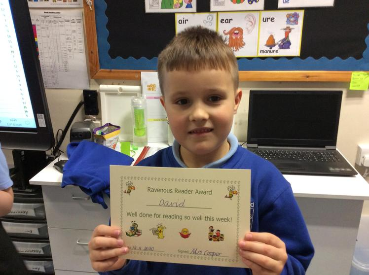 David for his confident phonic knowledge when reading.