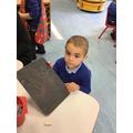 Viktor practised writing his name