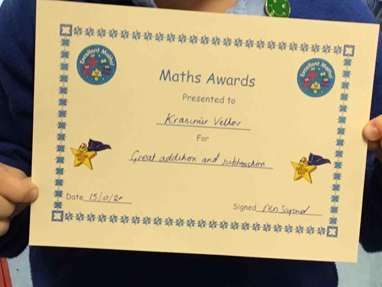 Week 6- Krasimir earnt this weeks Maths award.