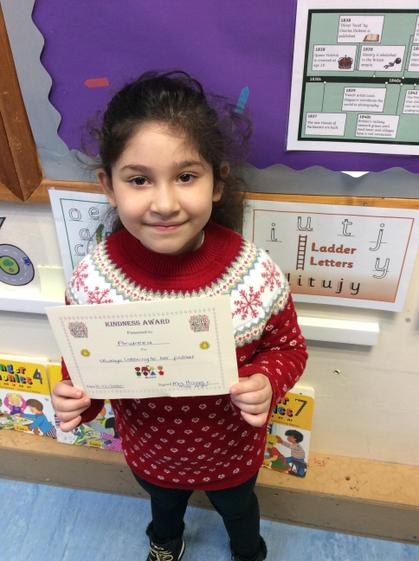 Kindness award for always listening to her friends.