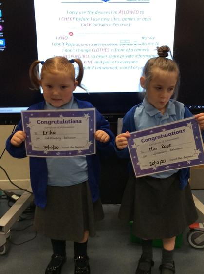 Well done Erika and   Mia-Rose for getting to outstanding this week!