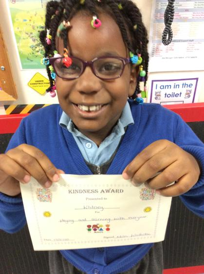 Whitney for being kind to everyone in the class when playing and learning.