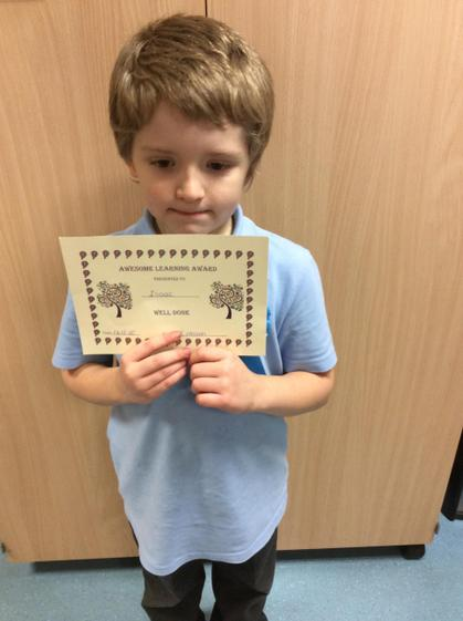 Awesome learning award for always having a positive attitude.