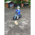 We have fun on the balance bikes.