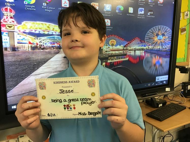 Jesse was a great team mate during PE encouraging his peers.