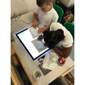 Our new light box. The children have loved using it to explore images and objects.