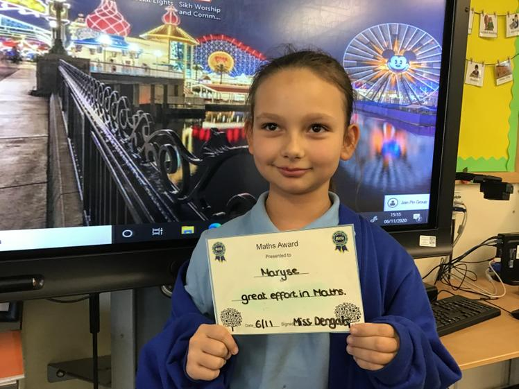 Maryse has worked so hard with her Maths work this week. Well Done!