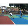 Practising batting skills for rounders