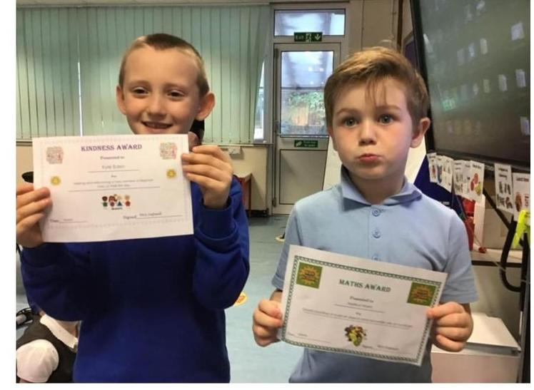 Week 1 - 10.9.20 Kyle earned the kindness award. Harrison won the Maths award. Well done!