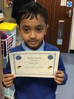 Week 5  8.10.20 Aayan earnt the Maths Award.
