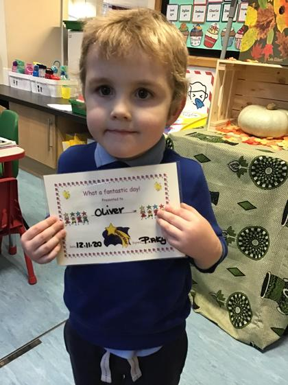 Well done Oliver, you have worked really hard all week.