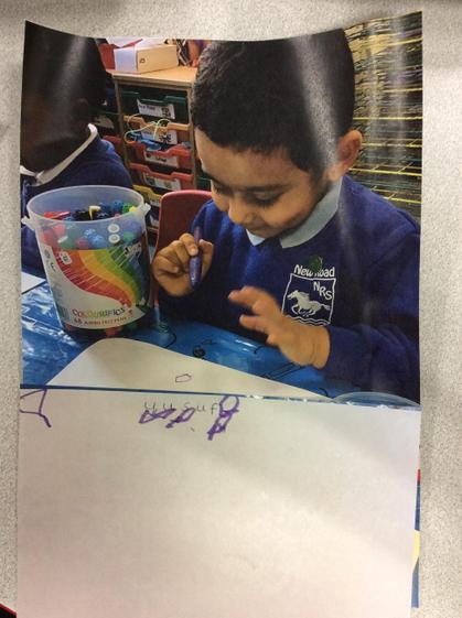 Fantastic mark making to write your name Yusuf