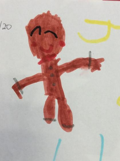 Wonderful drawing of the Gingerbread man Josephine.
