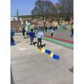 PE practising balancing skills.