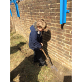 Connor digging outside area