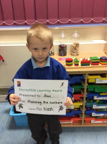 Well done Alan for recognising and matching numerals.