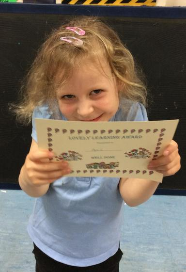 Week 5- April for working hard to improve her behaviour and focus during Cool time.
