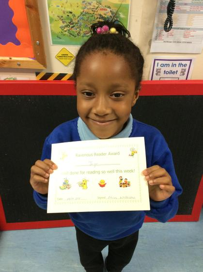 Jojo for working hard on using her phonics when reading.