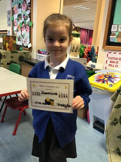 Well done Jasmine for having an amazing week!