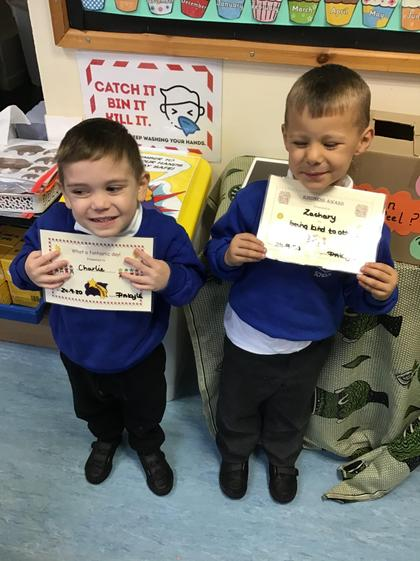 Well done Zachary for being kind to all your friends. Well done Charlie for a super week.