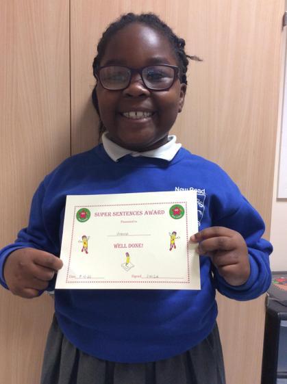 Week 5 - Joanna for great sentence work.