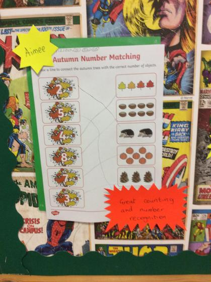 Well done Aimee for counting amounts and matching them to their numeral.