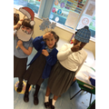 Enjoying their Christmas advent - Christmas selfies.