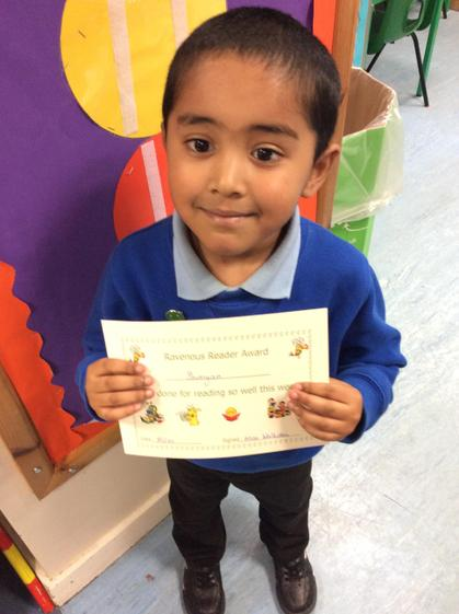 Shimyan for making fantastic progress with his reading and his sight recognition.