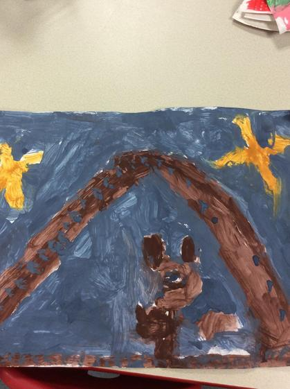 Aimee ,painted   a detailed  picture of  'little bear ' from the Goldilocks story.