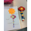 Lego flower and diagram with labels.