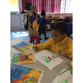 Kuba painted a fantastic picture or the troll from our story 3 billy goats gruff