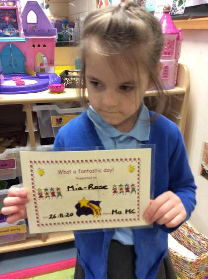 Well done Mia-Rose for having a super week.