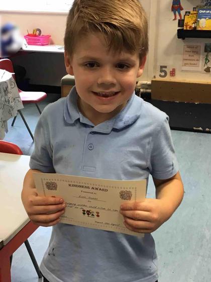 Week 6- Kian received this weeks Kindness Award.