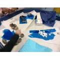 We used sugar cubes to create icebergs