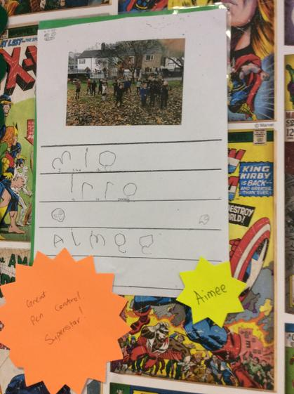 Well done Aimee you used letter shapes in your autumn writing.