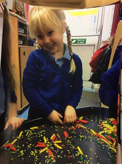 Scarlett created an amazing firework with rice and pasta.