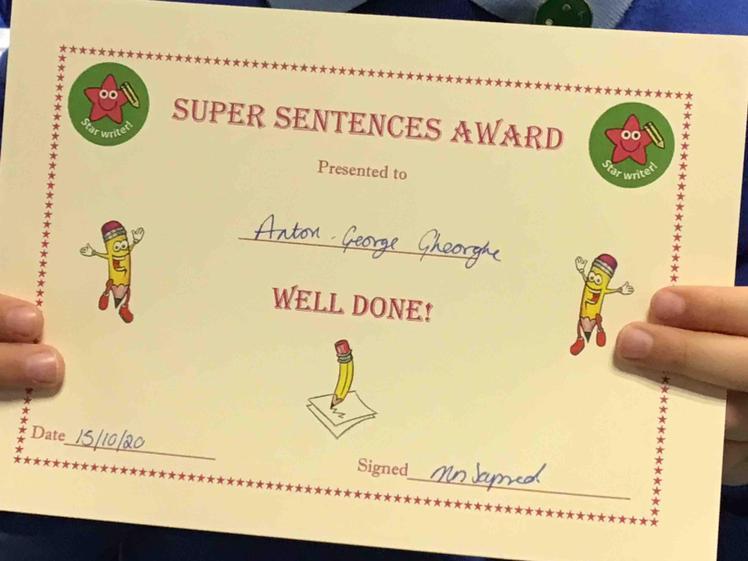 Week 6- Anton earnt the Sensational Sentences Award