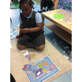 Our geography challenge was to complete the world map and name the continents and oceans.
