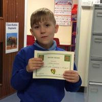 Week 3 - 24.9.20 Artus received the Maths Award for excellent work on a 100 square.