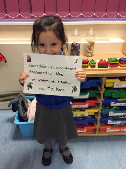 Well done Nia for writing your name.