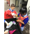 We enjoy exploring transferring of water.