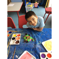 After moulding and baking some children painted their own alien design