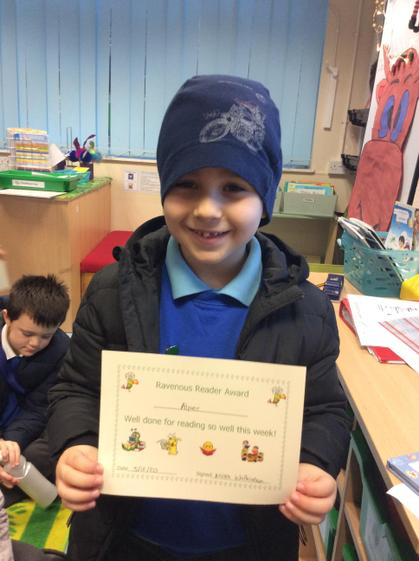 Alper for working hard to improve his use of phonics and his comprehension skills.