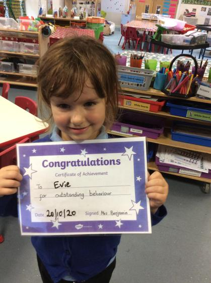 Well done this weeh Evie, you have been outstanding.