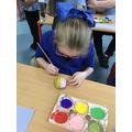 Painting our fabulous pebbles:)