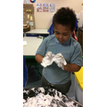 We became detectives to discover different shapes in the foam.