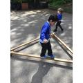 Yusuf showed great balancing skills on the beams.