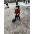 The children explored using the balance bikes for the first time.