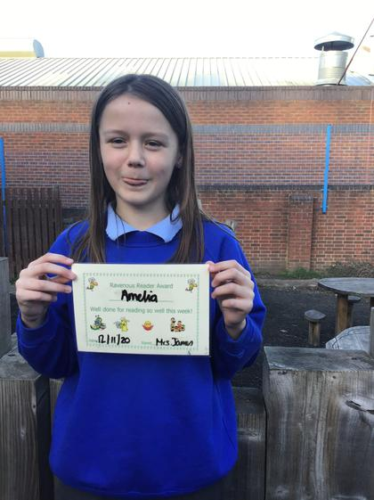 Amelia for excellent effort and achievement in her reading this week.